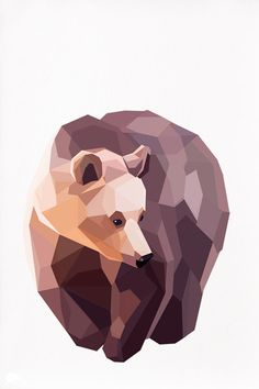 Geometric illustration Brown Bear Animal print by tinykiwiprints