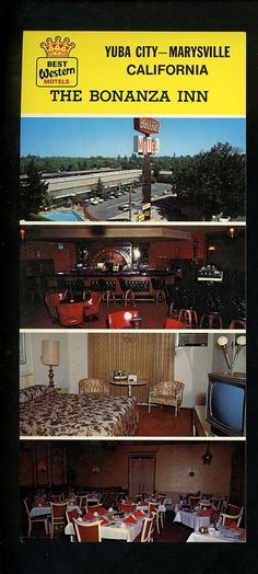 California CA Oversized Postcard The Bonanza Inn Motel Yuba City Marrysville