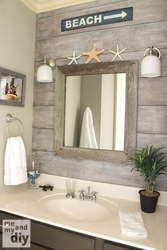 "Wall Decor Quotes For Living Room beach theme bathroom - love the ""drift wood"" behind the mirror.Wall Decor Quotes For Living Room beach theme bathroom - love the ""drift wood"" behind the mirror Beach Theme Bathroom, Nautical Bathrooms, Beach Room, Beach Bathrooms, Beachy Bathroom Ideas, Beach Decor Bathroom, Bathroom Theme Ideas, Costal Bathroom, Pool Bathroom"