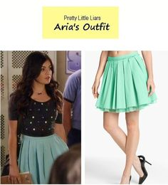 "July 2013 Lucy Hale as Aria Montgomery in Pretty Little Liars - ""Under the Gun! Aria's Mint Tutu Skirt: Remain Crinoline Pleated Skirt sold out here Pretty Little Liars Aria, Pretty Little Liars Outfits, Aria Style, Lucy Hale Style, Fashion Tv, Fashion Beauty, Fashion Outfits, Pll Outfits, Cute Outfits"