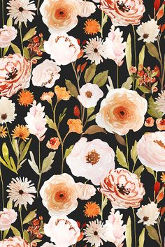 Indy_Bloom_Design_Autumn_Garden by indybloomdesign - Bold floral painting on fabric, wallpaper, and gift wrap. Peach and orange flowers with olive leaves on a black background in a painterly style. #floral #homedecor #design #flowers #crafty #designer #design #bold