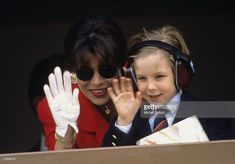 Princess Caroline of Monaco, a member of the Grimaldi family, waves with her son Andrea Casiraghi ,1990 in Monaco. Princess Caroline married Ernst August V, Prince of Hanover in 1999 and is also titled as Caroline, Princess of Hanover. She will be celebrating her 50th birthday on January 23rd.