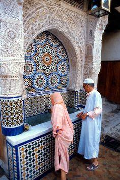 Moorish-Style Wall Fountain, Place Nejjarine, Fes, Morocco