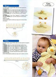 "Photo from album ""Crochet mantas de apego on Yandex. Crochet Lovey, Crochet Cross, Crochet Patterns Amigurumi, Baby Blanket Crochet, Amigurumi Doll, Crochet Dolls, Free Crochet, Knitting Patterns, Mug Rug Patterns"