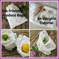 Eco Friendly Produce Bags - an upcycle tutorial - these bags made from old net curtains are perfect for your fruit and veg shopping! No more need for those small single use plastic bags!
