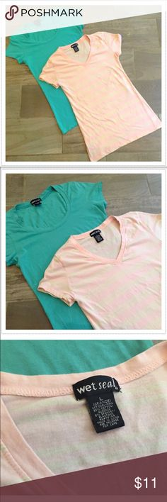 """🎉2 for 1 deal! Essential soft t shirt bundle 2 Wet Seal tops- both size large. One tea blue and one light pink and white striped. 95% cotton/5% spandex. Super soft & stretchy! Both approx 25"""" long & 18"""" flat across chest. Flawless- washed once but never worn. 🔴Bundle to save! 🔴NO TRADES, no modeling. 🔴REASONABLE offers welcome via offer button. Wet Seal Tops Tees - Short Sleeve"""