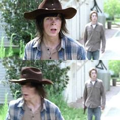 *Many walkers around you and you can not kill them all with ease. Carl notices and runs to help*