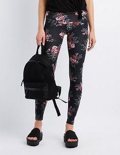 f51e153fca3c9c Floral High-Waisted Leggings | Charlotte Russe Patterned Leggings, Floral  Leggings, Floral Print