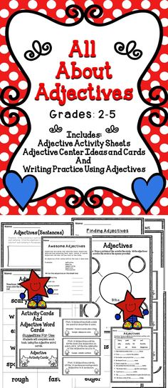 Adjectives- This is a fun filled activity pack to use with your students when teaching about Adjectives. #tpt #language #adjectives