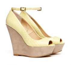 Peep toe wedge with yellow upper and suede lower.