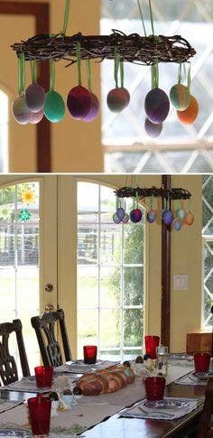 27. Upside down wreath decorated with hanging eggs. Top 27 Cute and Money Saving DIY Crafts to Welcome The Easter