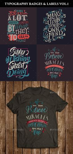 A set of 4 Typography poster and badges which can be used for labels, frame designs, t-shirts templates, book covers, quotes desig