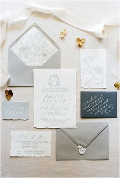 gray wedding stationery suite