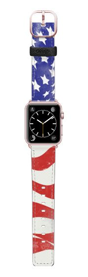 Casetify Apple Watch Band (38mm) Saffiano Leather Watch Band - USA FLAG by Allison Reich USE CODE: R7RAGW & GET DISCOUNT! #applewatchband #watchband #applewatch #usa #flag #america #us #holidays #redwhiteandblue #gift #gifts #casetify #casetifyartist #xox #love