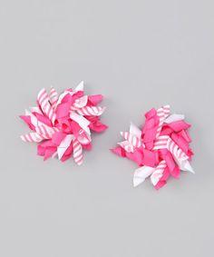Loving this Pink Candy Stripe Korker Clip Set on #zulily! #zulilyfinds