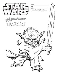 Wars coloring pages for kids ~ Master Yoda Swing Light Saber in Star Wars Coloring Page ...