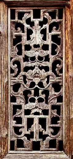 Chinese Handcrafted Wood Window