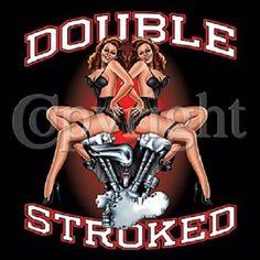 Double Stroked Pinup Girls Motorcycle Biker T-shirt Pin Up Girls, Hot Girls, Harley Davidson Wallpaper, Harley Davidson Art, Motorcycle Art, Motorcycle Design, Chopper, Garage Art, Biker Chick