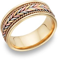 ApplesofGold.com - 14K Tri-Color Gold Design Wedding Band Jewelry $775.00