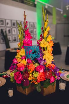 A Bright & Colorful Mexican Glam Themed Wedding Quinceanera Centerpieces, Quinceanera Party, Flower Centerpieces, Mexican Wedding Centerpieces, Colorful Centerpieces, Table Centerpieces, Wedding Colors, Wedding Flowers, Wedding Ideas