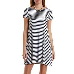 CR. Striped Trapeze T-Shirt Dress