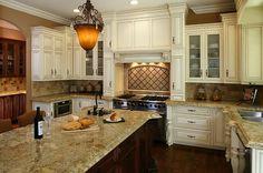 Antique Glazed Kitchen Cabinets   Antique White with a Mocha Glaze Kitchen.   Yelp