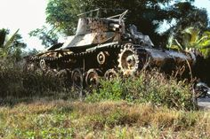 """Saipan, CNMI1984 Believed to be a Type 97 """"Chi-Ha"""" The Type 97 Chi-Ha was a medium tank used by the Imperial Japanese Army during the Second Sino-Japanese War, at Nomonhan against the Soviet Union, and in the Second World War. It was the most widely produced Japanese medium tank of World War II, although the armor protection was considered as average in the 1930s. The 57 mm main gun, designed to support the infantry, was a carry over from the 1933 Type 89 medium tank. Later it was…"""