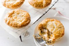 Grainy mustard and green peppercorns spice up these delicious chicken pies.