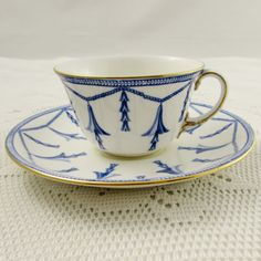 Royal Crown Derby Blue Garland Tea Cup and Saucer, Vintage Bone China, Pattern Number 4685