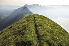 http://www.outdoorresearch.com/blog/stories/runners-inspiration-a-trail-gallery The Hardergrat is a 24 kilometer long ridgeline from Interlaken, to Brienz, Switzerland. The trail literally stays right on the edge of the ridge, sometimes knife edge in places with the sides dropping away for over 1000 meters. It is considered a classic one-day trail.