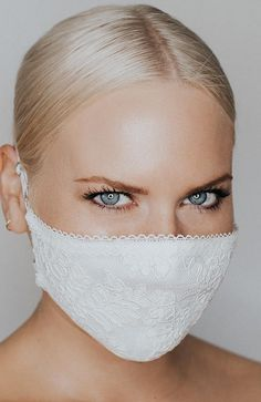 Coronavirus and face mask. Fitted lace multi-layer face mask featuring a corded lace, sparkle tulle underlay and delicate lace trim. Two adjustable straps ensure comfort and security while wearing. Easy Face Masks, Diy Face Mask, White Face Mask, Nose Mask, Mouth Mask, Diy Mask, Fashion Face Mask, Mask Making, Fashion 2020