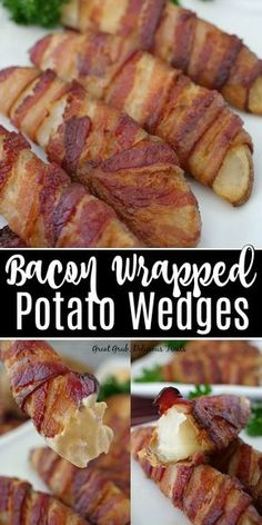 Bacon Wrapped Potato Wedges are delicious potato wedges seasoned then wrapped with bacon from end to end, then baked until the bacon is crispy and the potatoes are soft and tender. Source by Wedges Bacon Wrapped Pickles, Bacon Wrapped Potatoes, Bacon Potato, Bacon Bacon, Oven Bacon, Bacon Funny, Bacon Pasta, Candied Bacon, Bacon Appetizers
