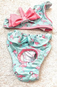 Dog Bikini Size XXS Pet Puppy Apparel Outfit Pink Flamingo Light Blue Color  | eBay
