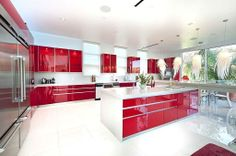Glossy red lacquer cabinets in this #modern Bell Canyon, CA abode.