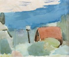 Landscape of Eichenau, watercolour, George Bouzianis Pink Sky, Visual, Watercolor, Sky, Art Database, Image, Painting, Visual Art, Artwork