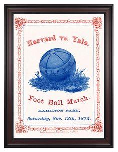 1875 Yale Bulldogs vs Harvard Crimson 36x48 Framed Canvas Historic Football Poster