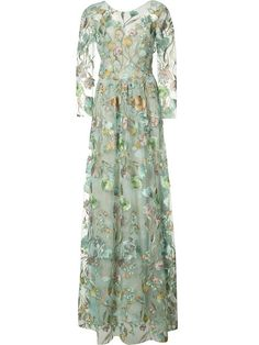 Shop Marchesa Notte floral embroidery sheer gown.