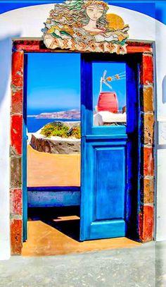 Santorini, Greece door