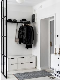 I think more concealed storage is best for entry way because some of the the items he needs here aren't as aesthetically pleasing as in this photo.