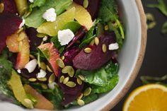 beet, orange and baby kale salad