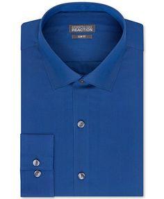 Kenneth Cole Reaction Slim-Fit Blue Graphite Solid Dress Shirt