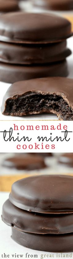 Homemade Thin Mints ~ this is the recipe you've been waiting for ~ the perfect copy cat Girl Scout Thin Mint Cookie Ingredients For the cookies: 1 cup oz, or 2 sticks) unsalted butter, at room temperature 1 cup unsweetened cocoa powder (I used Dutch Cookie Desserts, Just Desserts, Cookie Recipes, Delicious Desserts, Dessert Recipes, Yummy Food, Cookie Bars, Tasty, Thin Mint Cookies