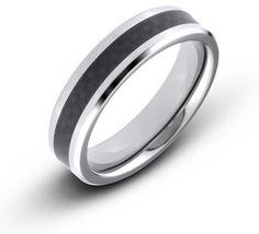 6MM Men's Titanium Beveled Edge Ring Wedding Band With Black Carbon Fiber Inlay