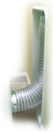 Installed Dryerbox - Eliminates bends in flex hose, providing better airflow and minimizing lint buildup. Collect exhaust transition hose safely in the wall behind the dryer.