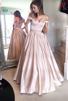a pink prom dress,off shoulder 2017 prom dress,formal dress,pageant dress