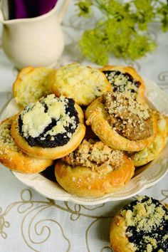 Koláče - Slovakian circular sweet breads filled with poppy seed, walnut, cheese or plum jam filling.