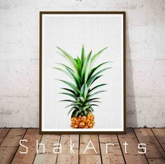 Pineapple Wall Ananas Print Tropical Wall Art by ShakArts on Etsy