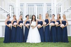 Navy Bridesmaids Dresses with Pink Bouquets