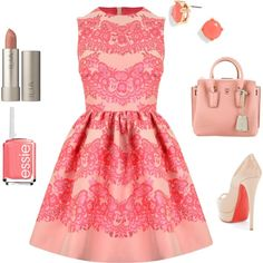 Coral Lace dress look
