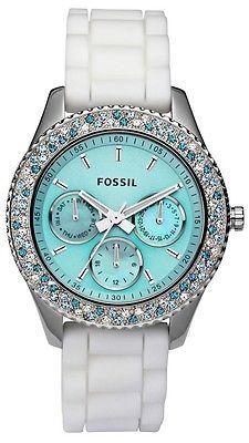 New Fossil Women's Stella Aqua Face Teal Blue White Crystal Bezel Watch ES2894